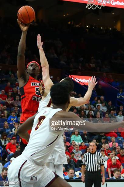 Milik Yarbrough of the Illinois State Redbirds shoots the ball against the Loyola Ramblers during the Missouri Valley Conference Basketball...