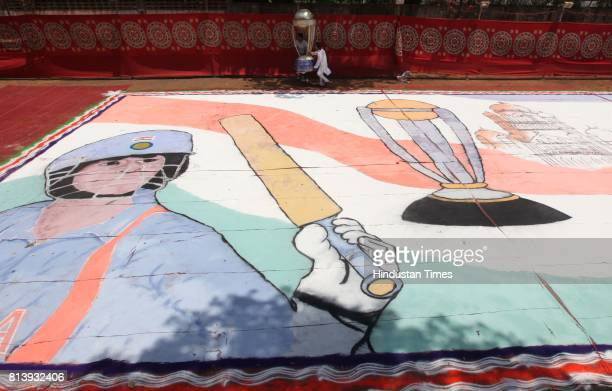 Milind Potfode artists created a 60 feet by 40 feet rangoli on the occasion of Gudi Padwa at Prabadevi organized by MNS on Monday