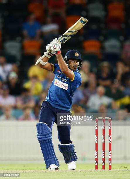 Milinda Siriwardana of Sri Lanka bats during the T20 warm up match between the Australian PM's XI and Sri Lanka at Manuka Oval on February 15 2017 in...