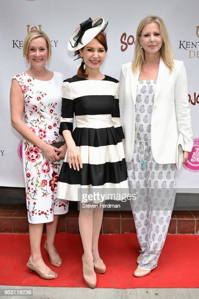 Milissa Rehberger Jean Shafiroff and Cheryl Casone attend the Kentucky Derby party hosted by Jean Shafiroff at Sojourn Restaurant on May 5 2018 in...