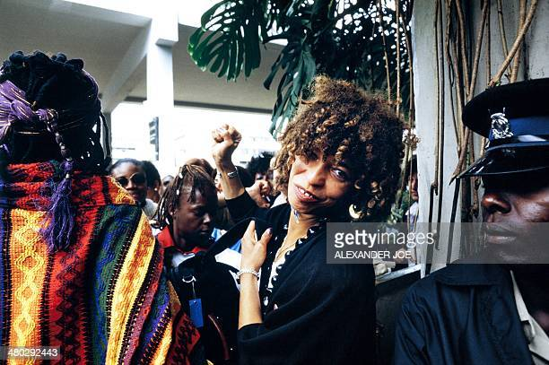 Militant Angela Davis raises the fist, on July 15, 1985 outside the conference building in Nairobi, ahead of the Women's Decade Conference.