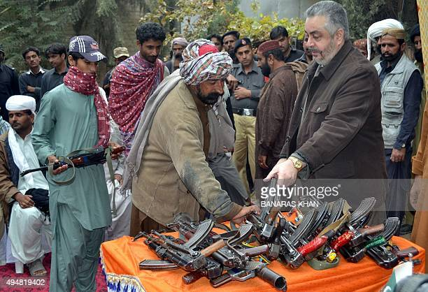 Militants from the band organization Baloch Liberation Army and United Baloch Army hand over their weapons and surrender to Chieftain of Marri tribe...