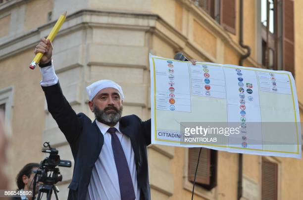 Militants of Movimento Cinque Stelle Party protest against the new electoral law under approval in Italian Parliament
