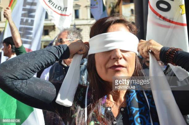 Militants of Movimento Cinque Stelle Party protest against the new electoral law under approval in Italian Parliament.