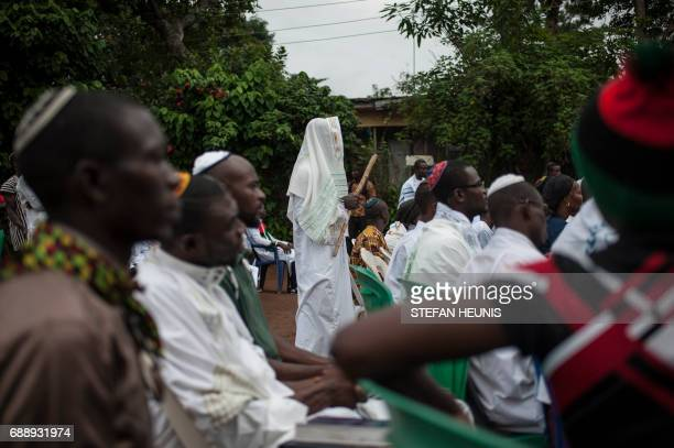 Militants of the Indigenous People of Biafra members of the Yahveh Yashua Synagogue celebrate Shabbat outside the residence of the movement's leader...