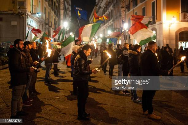 Militants of the party of extreme right CasaPound in the square to commemorate the Italian victims of foibe on February 09, 2019 in Salerno, Italy....