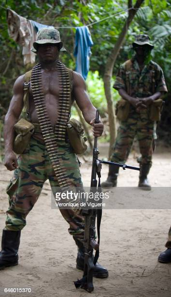 Militants working under Ateke Tom the big chief of the MEND in one of the eleven camps he rules in the mangroves of the Niger delta