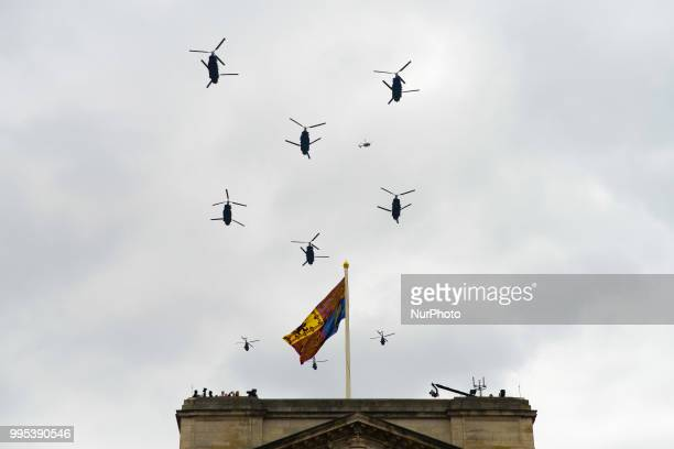 Militar aircrafts fly over The Mall and Buckingham palace as part of the celebration for the 100th anniversary of the Royal Air Force London on July...