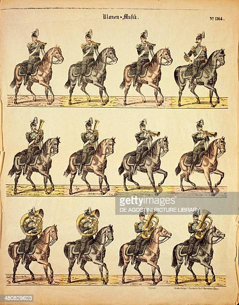 Militaria, 19th century - Musical band of German Uhlans on horseback. Published by Burckardt of Weissemburg at the beginning of the century.