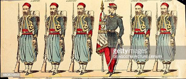 Militaria 19th century The Turcos colonial troops flanking the Zouaves during the conquest of Algeria and Morocco From Epinal soldiers series