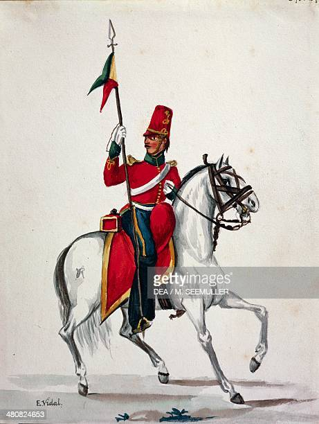 Militaria 19th century Uniform of a lancer of the Spanish Royalist army Watercolor from Costumes of Southern America by Emerico Vidal circa 1820 Lima...