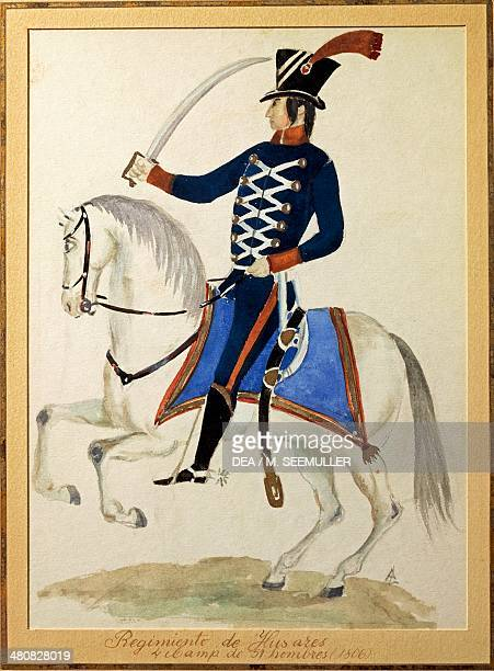 Militaria Argentina 19th century Hussar on horseback 1806 Watercolor Buenos Aires Museo Histórico Nacional Del Cabildo De La Ciudad De Buenos Aires Y...