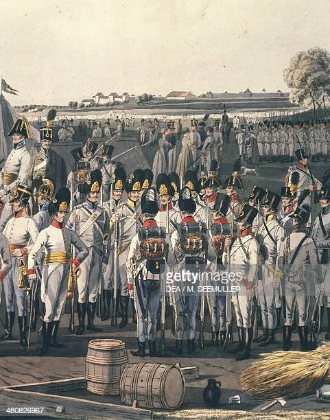 Militaria Austria 19th century Napoleonic wars Austrian infantry Watercolor Paris Musée De L'Armée