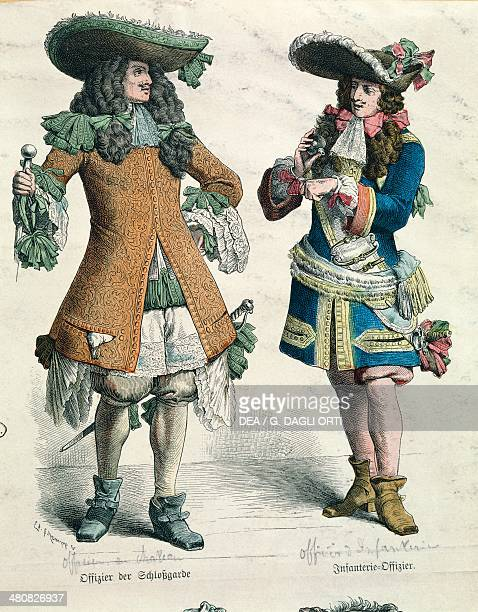Militaria France 17th century Castle officer and infantry officer Paris Bibliothèque Des Arts Decoratifs