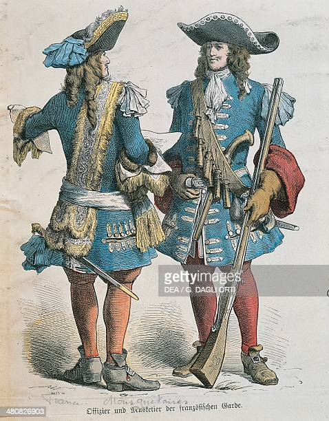 Militaria France 17th century Military uniforms of Louis XIV musketeers Paris Bibliothèque Des Arts Decoratifs