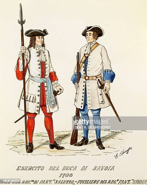 Militaria Italy 18th century Army of the Duke of Savoy riflemen of the Infantry Regiment of Saluzzo and Savoia 1706 Color engraving by E Chioppa...