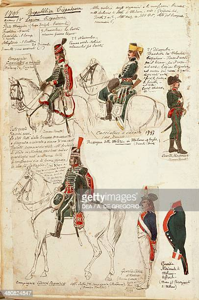Militaria Italy 19th century Military uniforms at the time of the Cisalpine Republic 1796 Color plate by Quinto Cenni Roma Archivio Dell'Ufficio...