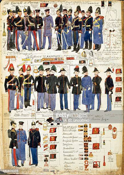 Militaria Italy 19th century Various uniforms of the Duchy of Parma 1850 Color plate by Quinto Cenni Roma Archivio Dell'Ufficio Storico Dello Stato...