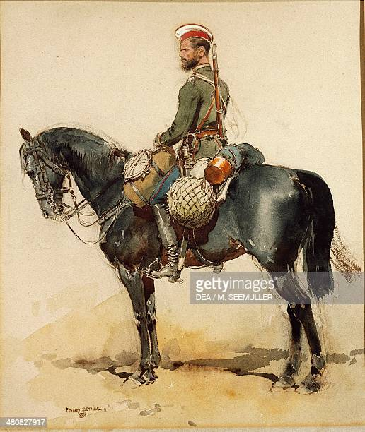 Militaria Russia 19th century Russian noncommissioned officer on horseback wearing campaign uniform Guard regiment Watercolor by Edouard Detaille...