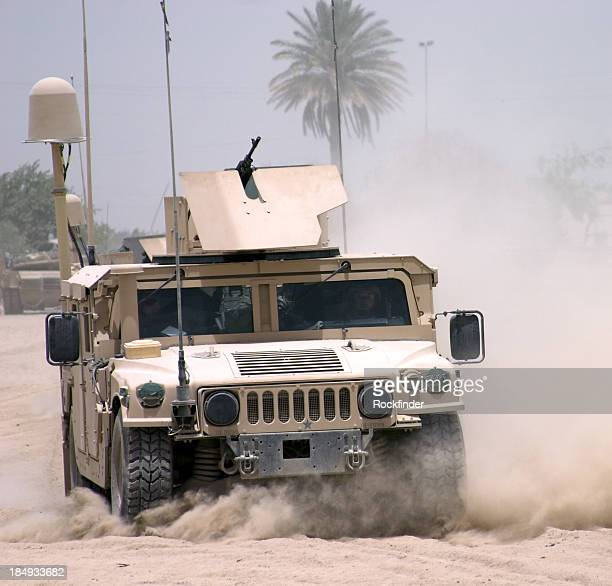 A militaristic vehicle with a mounted gun