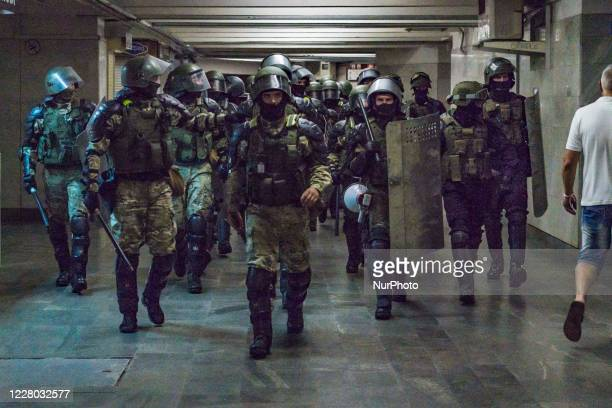 Militarized police patrols the underground of Minsk, Belarus, on August 11, 2020 preventing protests or riots after the claimed fraudulent...