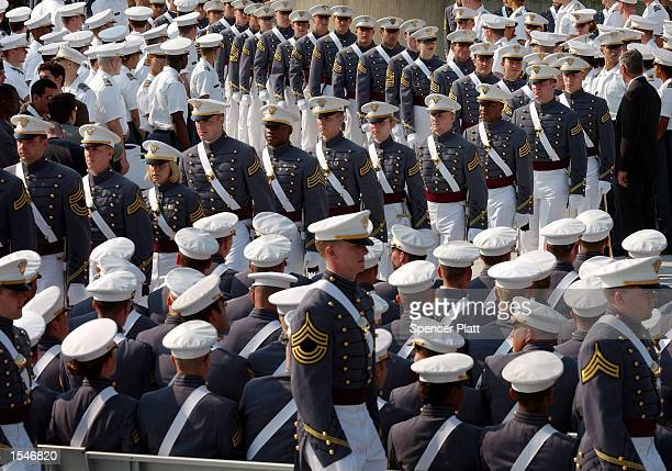 Military Academy cadets line up before receiving their diplomas and commissions into the officer corp of the U.S. Army June 1, 2002 at West Point in...