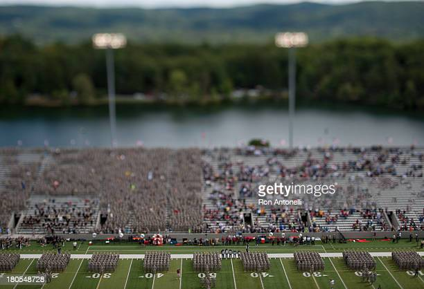 Military Academy Corps of Cadets marches on the field before the start of the game September 14 2013 at Michie Stadium in West Point New York...