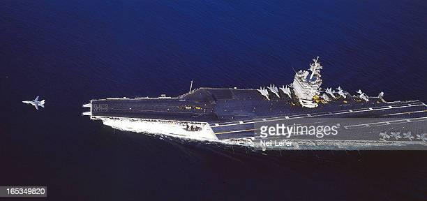 Aerial of F14 Tomcat taking off from the deck of the USS Enterprise Enterpriseclass aircraft carrier off the coast of San Diego California 6/1/1987...