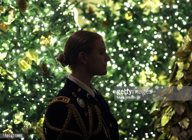 Military aide stands near Christmas decorations in the Grand Foyer at the White House December 2, 2019 in Washington, DC. The White House expects to...