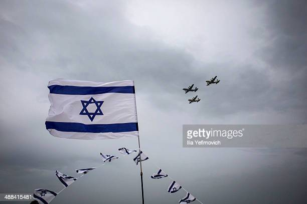 A military air show marking the 66th anniversary of Israel's independence on May 6 2014 in Tel Aviv Israel The day marks when David BenGurion the...