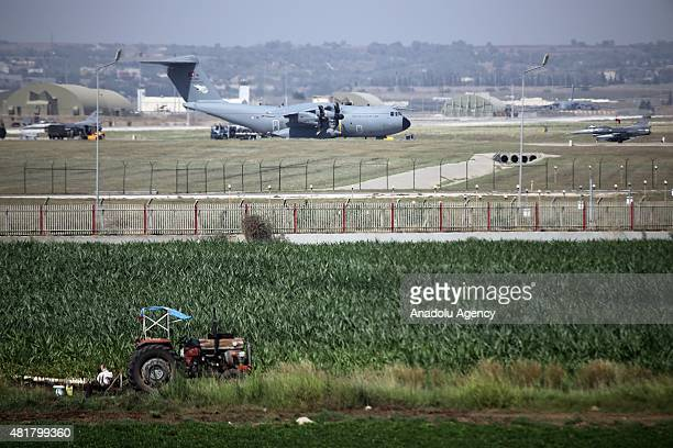 A military aircraft of Turkish Air Force lands at the Incirlik 10th Tanker Base Command in Saricam district Adana on July 24 2015 On Friday Turkish...