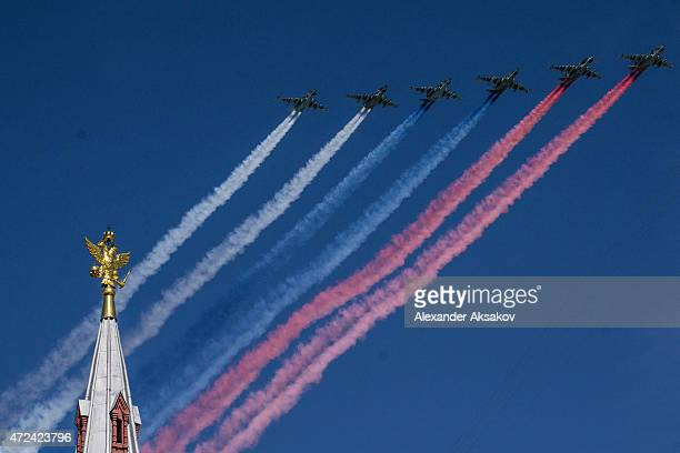 Military aircraft participate in a flyby during the final rehearsal of the Victory Day parade ahead of celebrations to mark the 70th anniversary of...