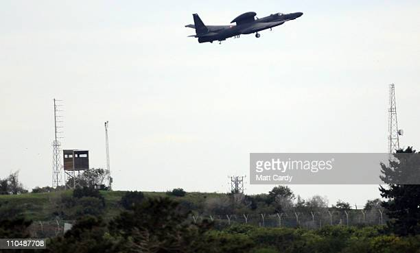 A military aircraft takes off from the British RAF Akrotiri airbase on March 20 2011 in Cyprus Defence analysts said the sovereign military airfield...