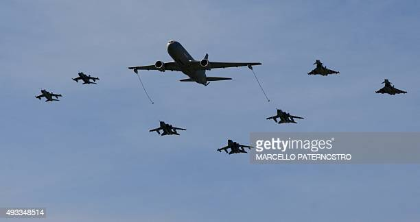 Military aircrafts take part in the opening ceremony of NATOs large scale exercise Trident Juncture 2015 at the Italian Air Force Base in Trapani...