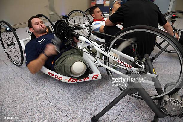 Military amputee Steve Arnold uses a hand bike in the new Help for Heroes' Tedworth House rehabilitation centre for wounded servicemen and women...