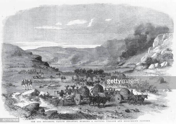 Military and mutiny, the 45th regiment, native infantry, burning a Santhal village and recovering plunder, India
