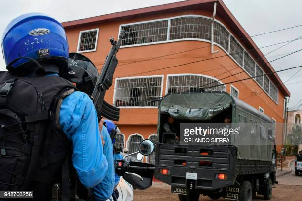 Military and national police officers are deployed in Tegucigalpa on April 18 2018 to provide security around education facilities Students are also...