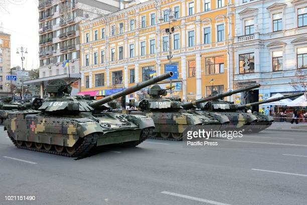 Military armored vehicles of Ukrainian army take part in a parade rehearsal in the centre of Kiev ahead of Ukraine's Independence Day celebrations on...