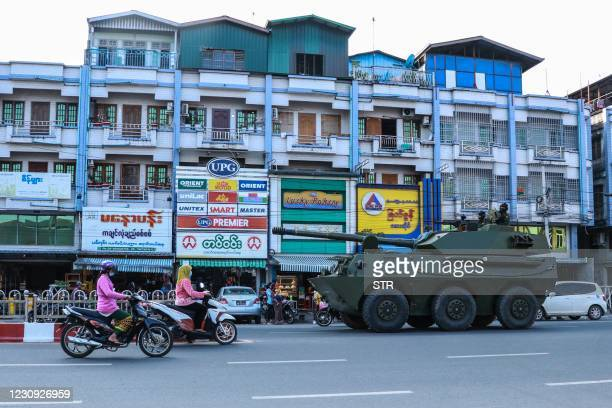 Military armoured vehicle is seen along a street in Myitkyina, Kachin State on February 2 as Myanmar's generals appeared in firm control a day after...