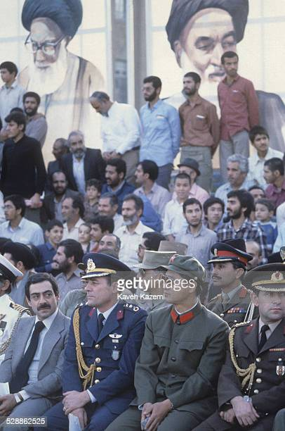 Military attaches of countries represented during the IranIraq war attend a parade at a military academy in Tehran Iran 14th October 1981