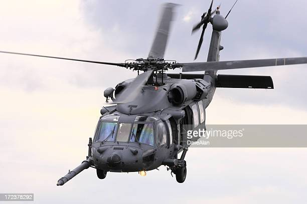 Military attack helicopter flying