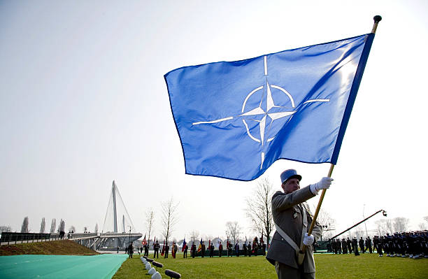Military attend the commemoration for the dead NATO soldiers during the NATO summit at the Passerelle des Deux-Rives on April 4, 2009 in Kehl,...
