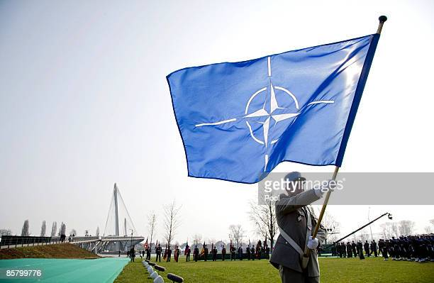 Military attend the commemoration for the dead NATO soldiers during the NATO summit at the Passerelle des DeuxRives on April 4 2009 in Kehl Germany...