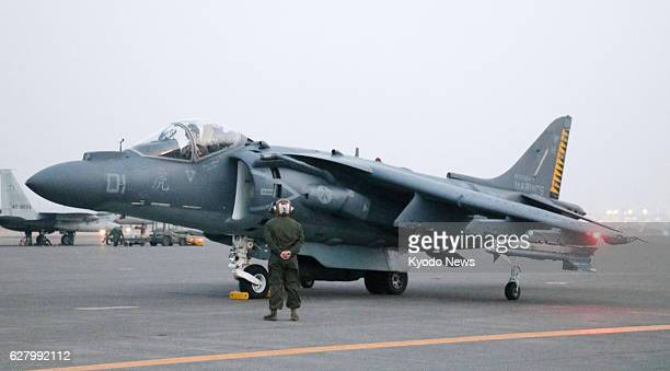 A US military AV8 Harrier fighter jet arrives at the Air SelfDefense Force's Chitose base in Japan's northernmost main island of Hokkaido on Dec 5 to...