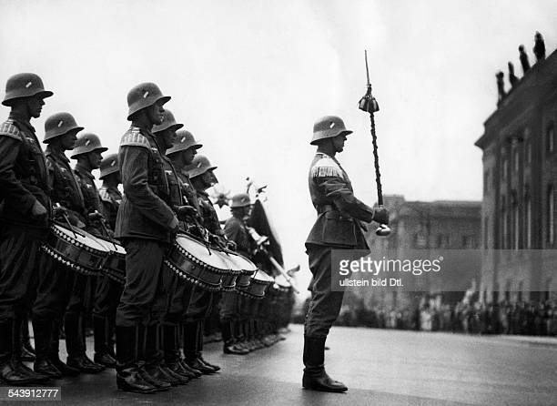 Military band during a changing of the guards in front of the 'Preussisches Ehrenmal' Photographer Curt Ullmann Published by 'Sieben Tage'...