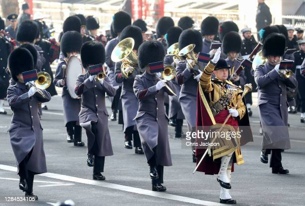 Military band during the National Service of Remembrance at The Cenotaph on November 08, 2020 in London, England. Remembrance Sunday services are...