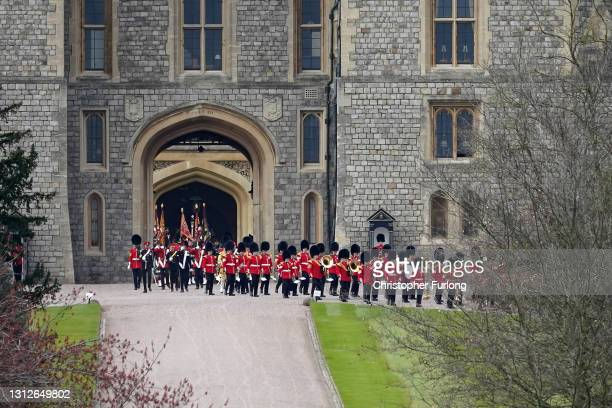 Military band leaves Windsor Castle after taking part in a rehearsal ahead of Prince Philip, Duke of Edinburgh's funeral on April 15, 2021 in...