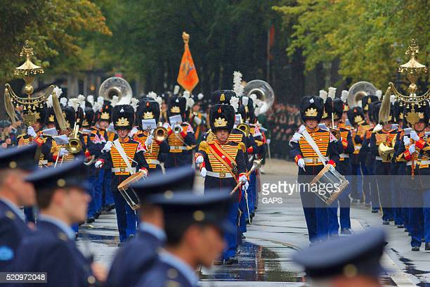 military band on lange voorhout during prinsjesdag in the hague - prinsjesdag stock pictures, royalty-free photos & images