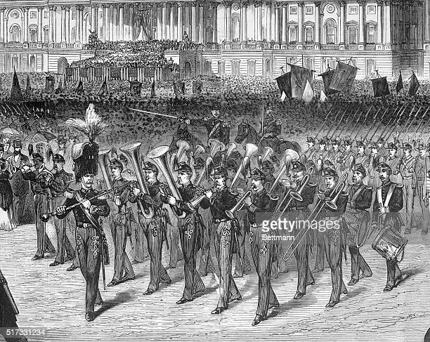 Military band on the march in front of Capitol in Washington Inauguration of Grant 1873