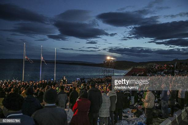 Military band perform during the Anzac dawn service at Anzac Cove in commemoration of the 101th anniversary of Canakkale Land Battles on Gallipoli...